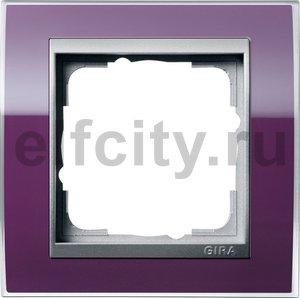 Рамка 1 пост, пластик прозрачный темно-фиолетовый-алюминий