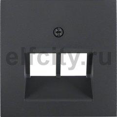 Центральная панель для UAE/E-DAT Design/Telekom розетка ISDN цвет: антрацитовый, матовый Berker B.1/B.3/B.7 Glas
