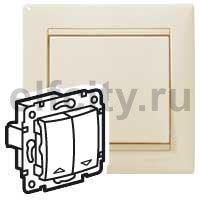 Выключатель управления жалюзи с электрической блокировкой, 10 А / 250 В, пластик кремовый глянцевый