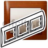 Рамка 3 поста, для горизонтального монтажа, вишня