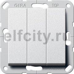 Клавишный выключатель. Переключатель 3-клавишный, пластик под алюминий