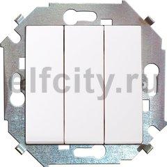 Выключатель трехклавишный, 10 А / 250 В, белый