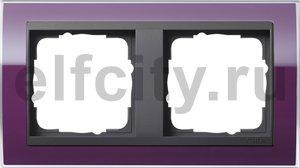 Рамка 2 поста, для горизонтального/вертикального монтажа, пластик прозрачный темно-фиолетовый-антрацит
