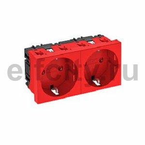 Розетка двойная 0° с з/к, 250 В, 16A (красный)