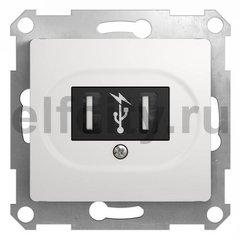 Розетка двойная USB, 2 * 5 B / 700 mA, используется для зарядки мобильных устройств, белый