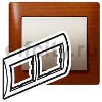 Рамка 2 поста, для горизонтального монтажа, вишня