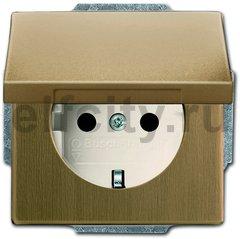 Розетка с заземляющими контактами 16 А / 250 В, с защитой от детей, автоматические зажимы, античная латунь/слоновая кость