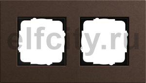 Рамка 2 поста, для горизонтального/вертикального монтажа, коричневый