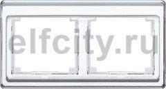 Рамка 2 поста, для горизонтального монтажа, белое стекло
