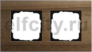 Рамка 2 поста, для горизонтального/вертикального монтажа, алюминий шпон орехового дерева
