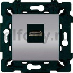 Розетка HDMI, светлый хром/чорный