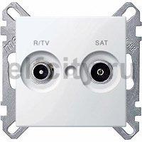 Розетка телевизионная проходная TV FM, диапазон частот от 4 до 2400 Mгц, пластик белый глянцевый