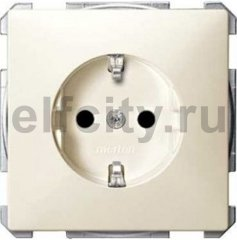Розетка с заземляющими контактами 16 А / 250 В, с защитой от детей, пластик кремовый глянцевый