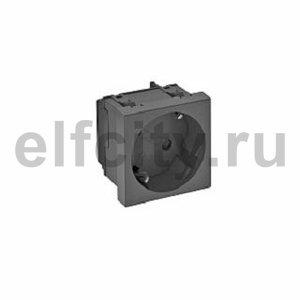 Розетка одинарная 33° с з/к, 250 В, 16A (черный)