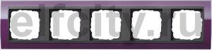 Рамка 5 постов, для горизонтального/вертикального монтажа, пластик прозрачный темно-фиолетовый-антрацит