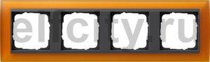 Рамка 4 поста, для горизонтального/вертикального монтажа, пластик матово-янтарный/антрацит