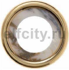 Рамка 1 пост, пластик под белый мрамор/золото 24 карата