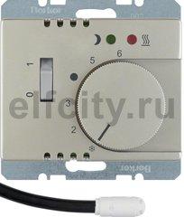 Регулятор температуры помещения пола с замыкающим контактом, с центральной панелью и светодиодом, Arsys, цвет: стальной, лак