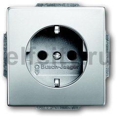 Розетка с заземляющими контактами 16 А / 250 В, автоматические зажимы, с покрытием против отпечатков пальцев, нержавеющая сталь