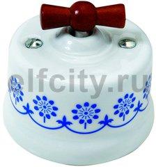 Выключатель поворотный одноклавишный универсальный (вкл/выкл с 1-го 2-х мест) 10 А / 250 В, наружный монтаж, белый фарфор / синий декор, ручка мёд