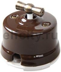 Выключатель поворотный 2-х позиционный для наружного монтажа проходной, коричневый