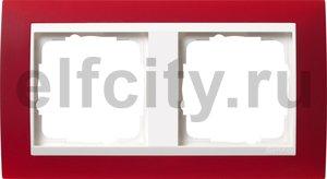 Рамка 2 поста, для горизонтального/вертикального монтажа, пластик матово-красный/глянц.белый