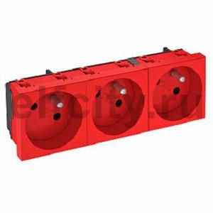 Розетка тройная 33° франц. стандарт, 250 В, 16A (красный)