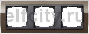 Рамка 3 поста, для горизонтального/вертикального монтажа, пластик прозрачный коричневый-антрацит