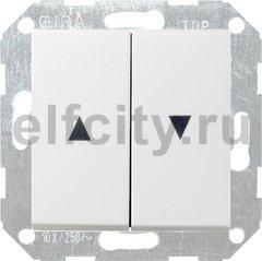 Выключатель управления жалюзи клавишный, 10 А / 250 В, пластик белый матовый