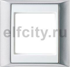 Рамка 1 пост, алюминий-белый
