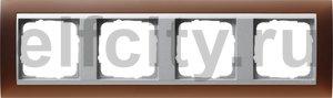 Рамка 4 поста, для горизонтального/вертикального монтажа, пластик матово-коричневый/алюминий