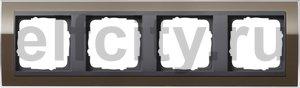 Рамка 4 поста, для горизонтального/вертикального монтажа, пластик прозрачный коричневый-антрацит