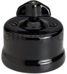 Выключатель поворотный одноклавишный универсальный (вкл/выкл с 1-го 2-х мест) 10 А / 250 В, наружный монтаж, фарфор черный, ручка ретро