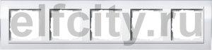 Рамка 5 постов, для горизонтального/вертикального монтажа, пластик прозрачный белый-глянц.белый