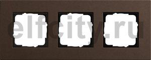 Рамка 3 поста, для горизонтального/вертикального монтажа, коричневый