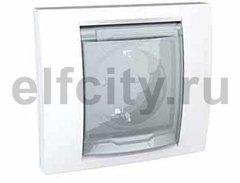 Розетка с заземляющими контактами 16 А / 250 В, с откидной крышкой и уплотнительной мембраной IP44, поставляется только в собранном виде, не требует комплектации рамкой, пластик белый