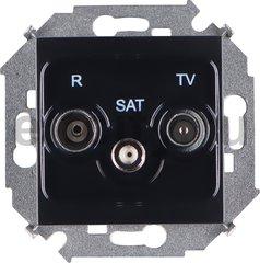 Розетка телевизионная одиночная FM / TV / SAT, диапазон частот от 5 до 2400 Mгц, черный