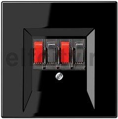 Розетка для стерео-громкоговорителя, пластик черный глянцевый