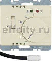 Регулятор температуры помещения пола с замыкающим контактом, с центральной панелью и светодиодом, Arsys, цвет: белый, глянцевый