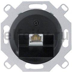 Розетка компьютерная одинарная RJ45 UTP, 5-й кат, пластик черный глянцевый
