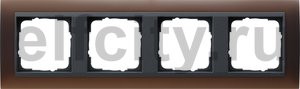Рамка 4 поста, для горизонтального/вертикального монтажа, пластик матово-коричневый/антрацит