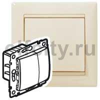 Диммер (светорегулятор) нажимной 40-600 Вт для ламп накаливания и галогенных 220В, пластик кремовый глянцевый