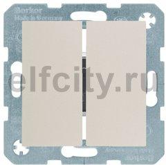 Выключатель двухклавишный, 10 А / 250 В, пластик кремовый (белый с блеском)