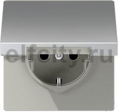 Штепсельная розетка SCHUKO 16A 250V~ с откидной крышкой; алюминий