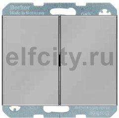 Выключатель двухклавишный, 10 А / 250 В, нержавеющая сталь