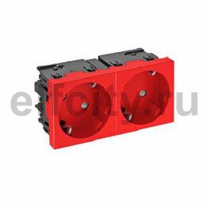 Розетка двойная 33° Modul45connect, 250 В, 16A (красный)