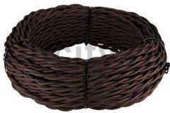 Ретро кабель 2х2.5 плетеный, в двойной ПВХ изоляции с пламегасительным наполнителем, покрыт антигорючими нитеевыми волокнами, в упаковке 50м, коричневый