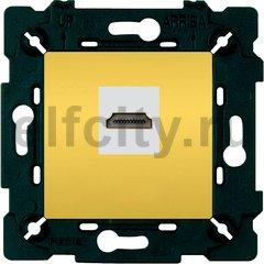 Розетка HDMI, красное золото /бежевый