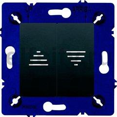 Выключатель управления жалюзи кнопочный, 10 А / 250 В, черный