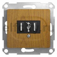 GLOSSA USB РОЗЕТКА, 5В /1400 мА, 2 х 5В /700 мА, механизм, ДЕРЕВО ДУБ